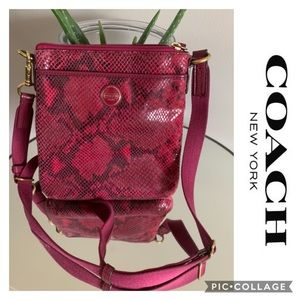 Coach Crossbody Bag Swing Pack Snake leather